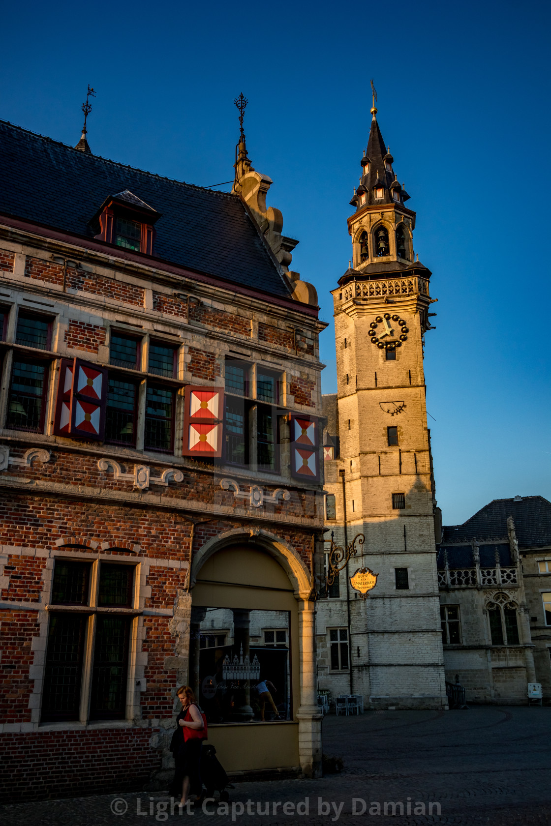 """""""The clock tower, Aalst main square"""" stock image"""