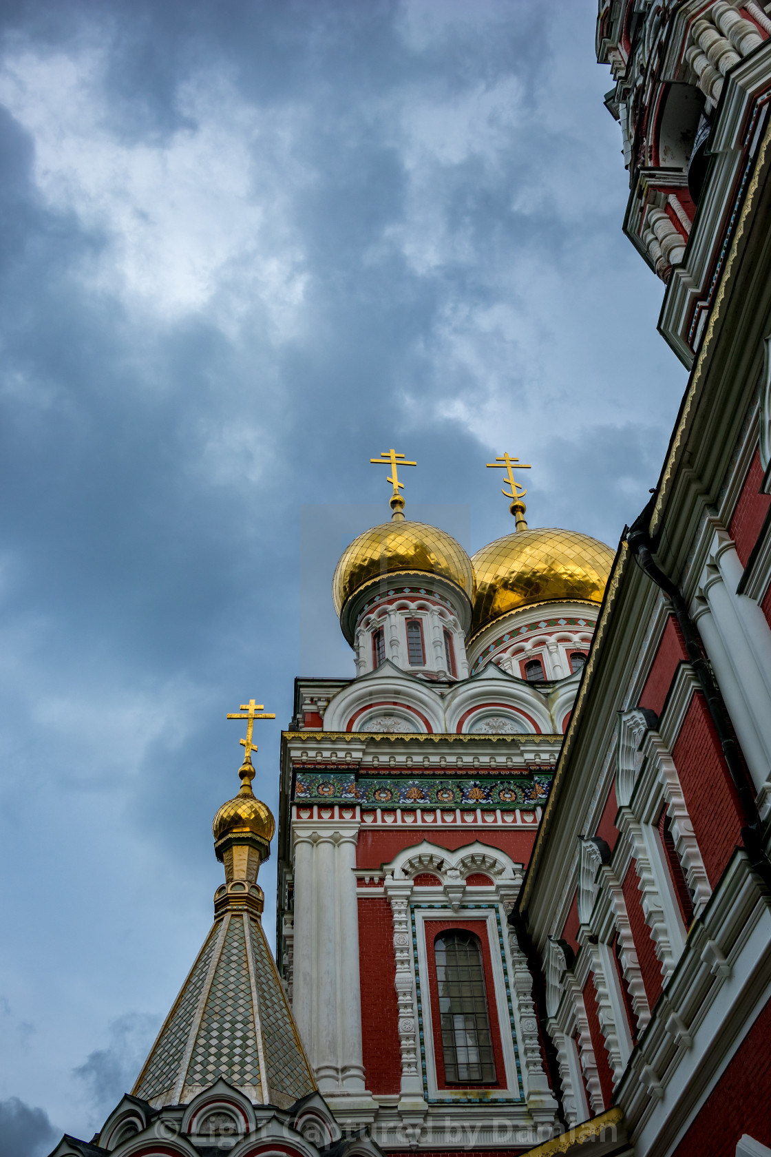 """Golden cupola and crosses, Shipka church"" stock image"