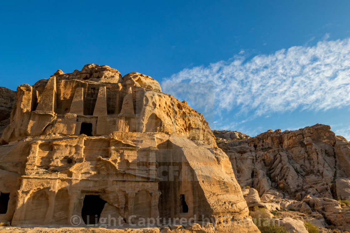 """Afternoon at Obelisk Tomb in Petra, Jordan"" stock image"
