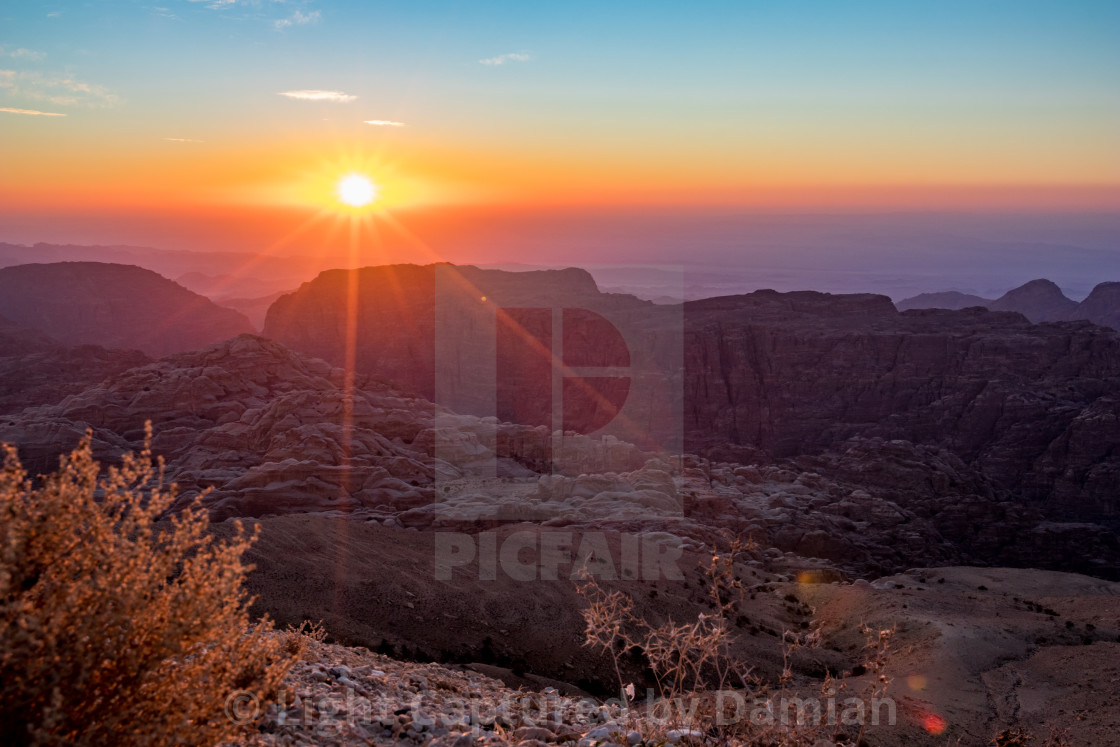 """Sunset in Wadi Musa, Jordan"" stock image"