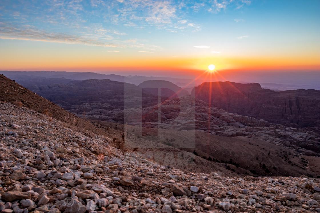 """""""Sunset in Wadi Musa, Jordan"""" stock image"""