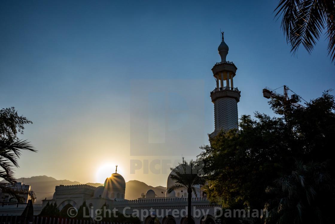 """Aqaba, Jordan, mosque at sunrise"" stock image"