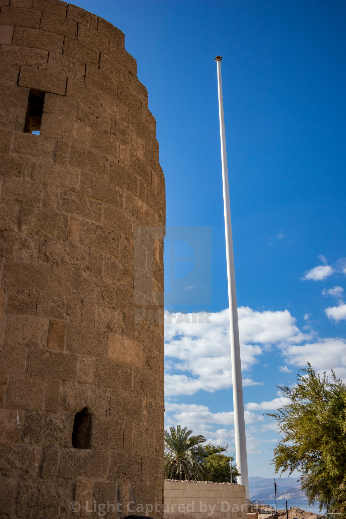 """Jordan, Aqaba, old city castle fort tower"" stock image"