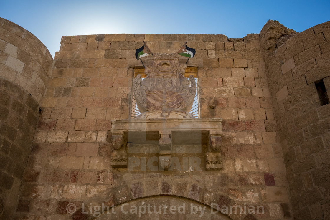 """Jordan, Aqaba, old city castle fort tower"" stock image"