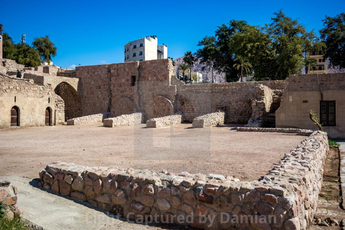 """Jordan, Aqaba, old city castle court yard"" stock image"