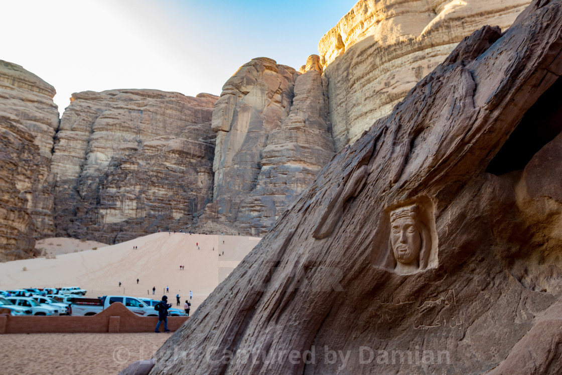 """Lawrence of Arabia head, Wadi Rum, Jordan"" stock image"