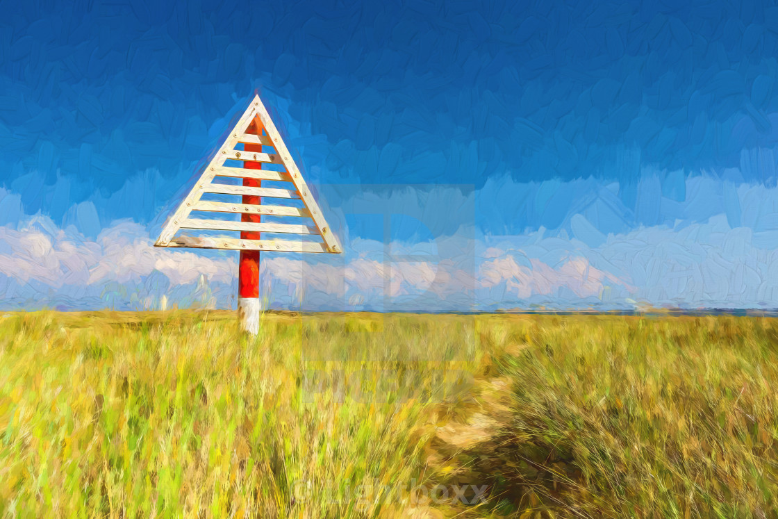 Digital Painting Of A Beach On The Island Sylt Germany License