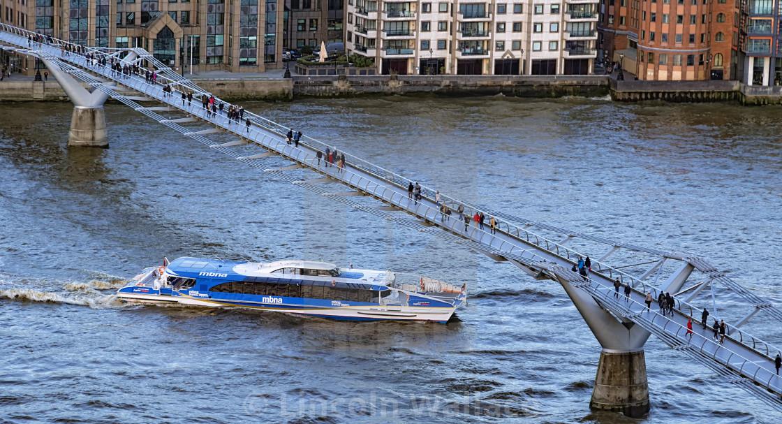 """""""Millennium Bridge from Tate"""" stock image"""