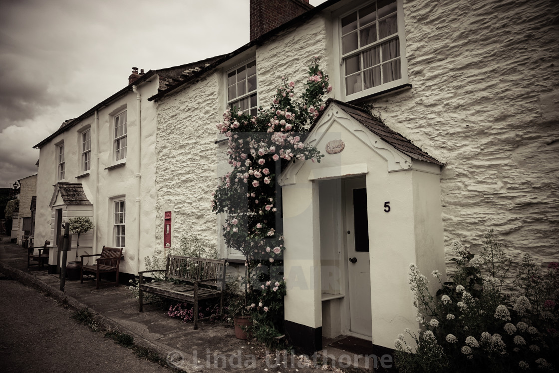 """""""CHARESTOWN COTTAGES, CORNWALL"""" stock image"""
