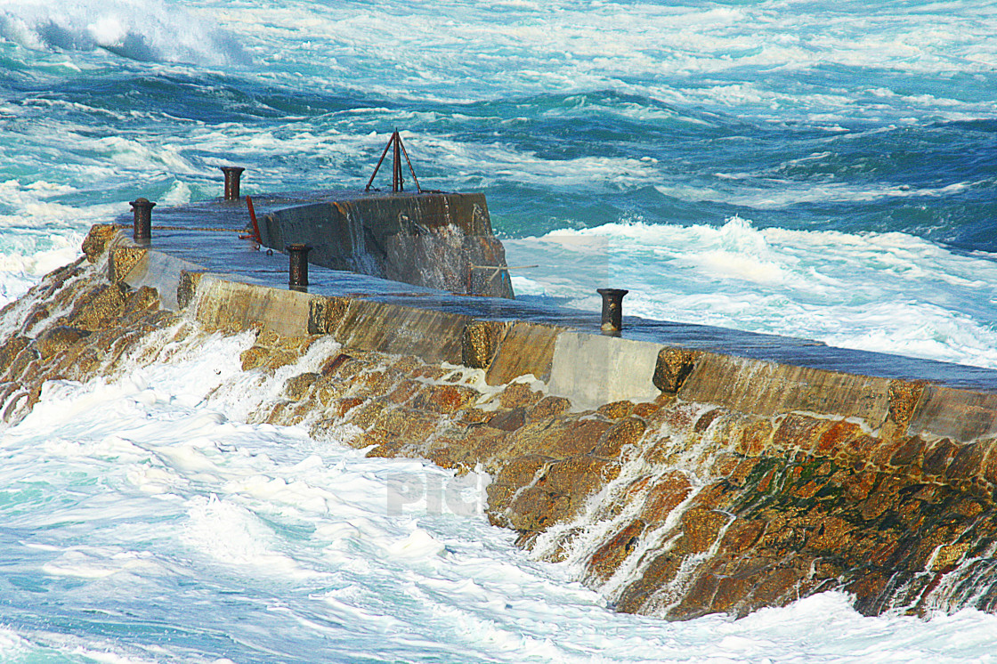 """Sennen Cove Harbour Wall"" stock image"