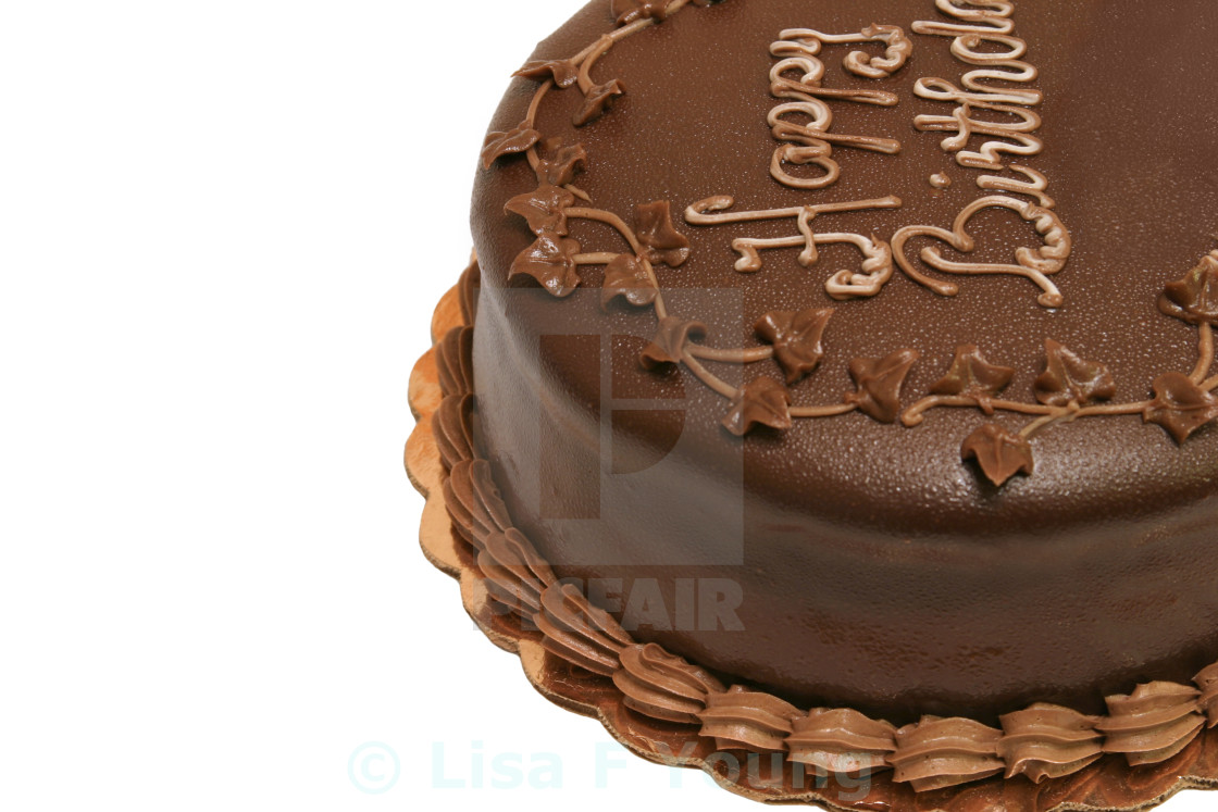 Chocolate Birthday Cake Horizontal Stock Image