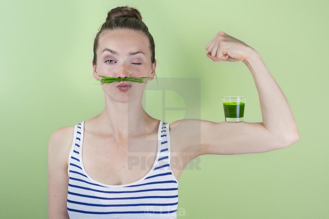 """Super wheat grass power!"" stock image"