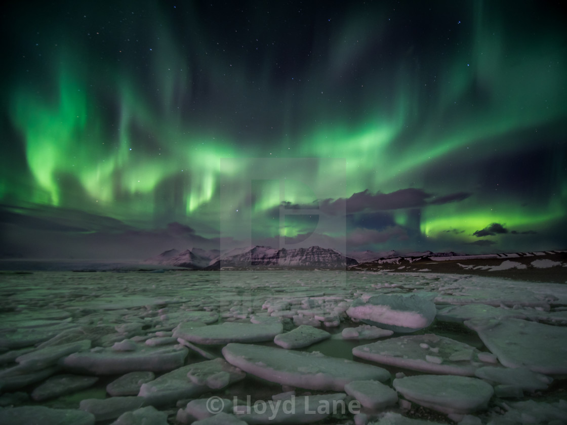"""Jökulsárlón at night"" stock image"