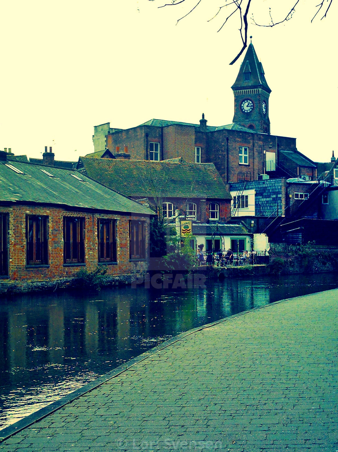 """""""Along the Canal Newbury"""" stock image"""
