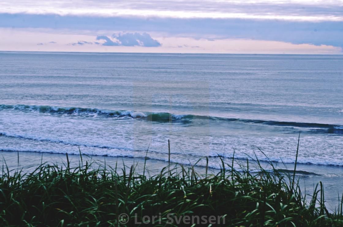 """""""Waves Crash on South Beach Washington"""" stock image"""