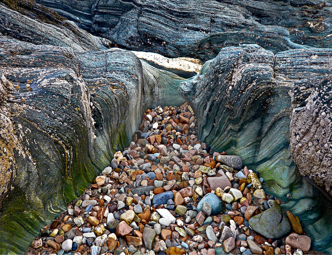 """Green Rocks and Pebbles"" stock image"