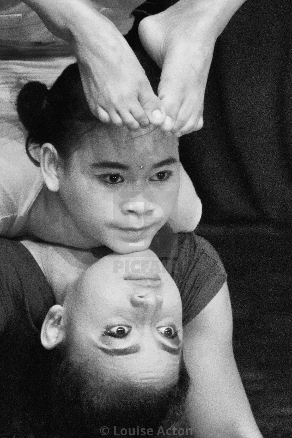 """Acrobats in Cambodian circus-close portrait"" stock image"
