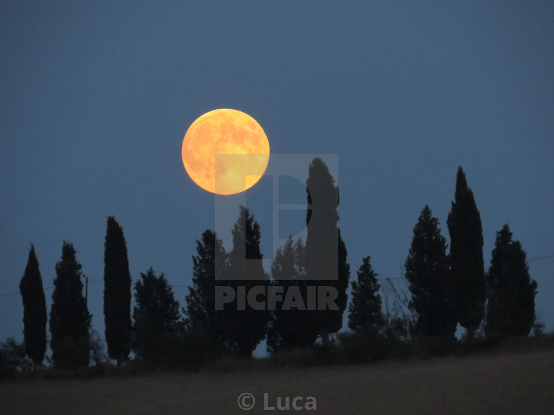 """Tuscany moonrise"" stock image"