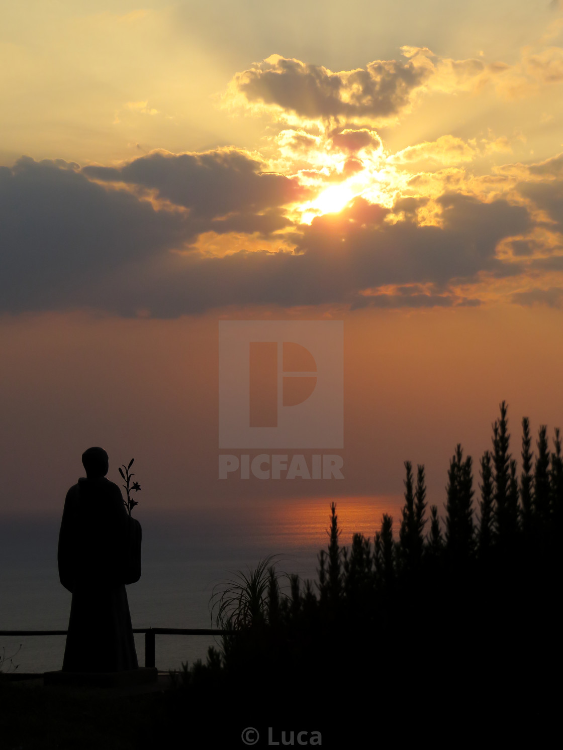 """Saint Costabile facing sunset"" stock image"