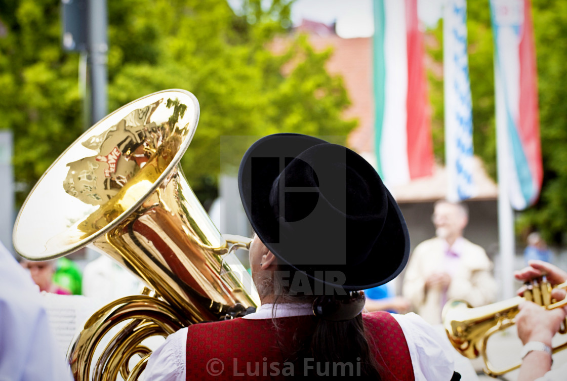 Garching, Germany - open air brass orchestra concert - License