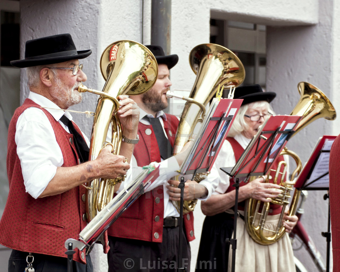 """Garching, Germany - open air brass orchestra concert"" stock image"