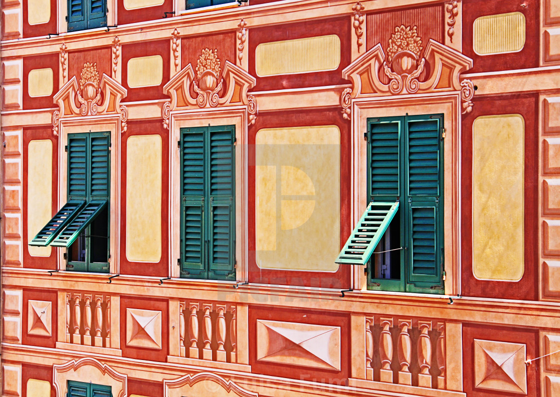 """Liguria, Italy - painted house trompe-l'oeil detail"" stock image"