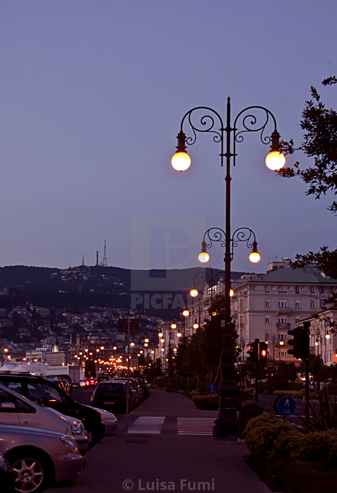 """Trieste, Italy - waterfront landscape at night"" stock image"