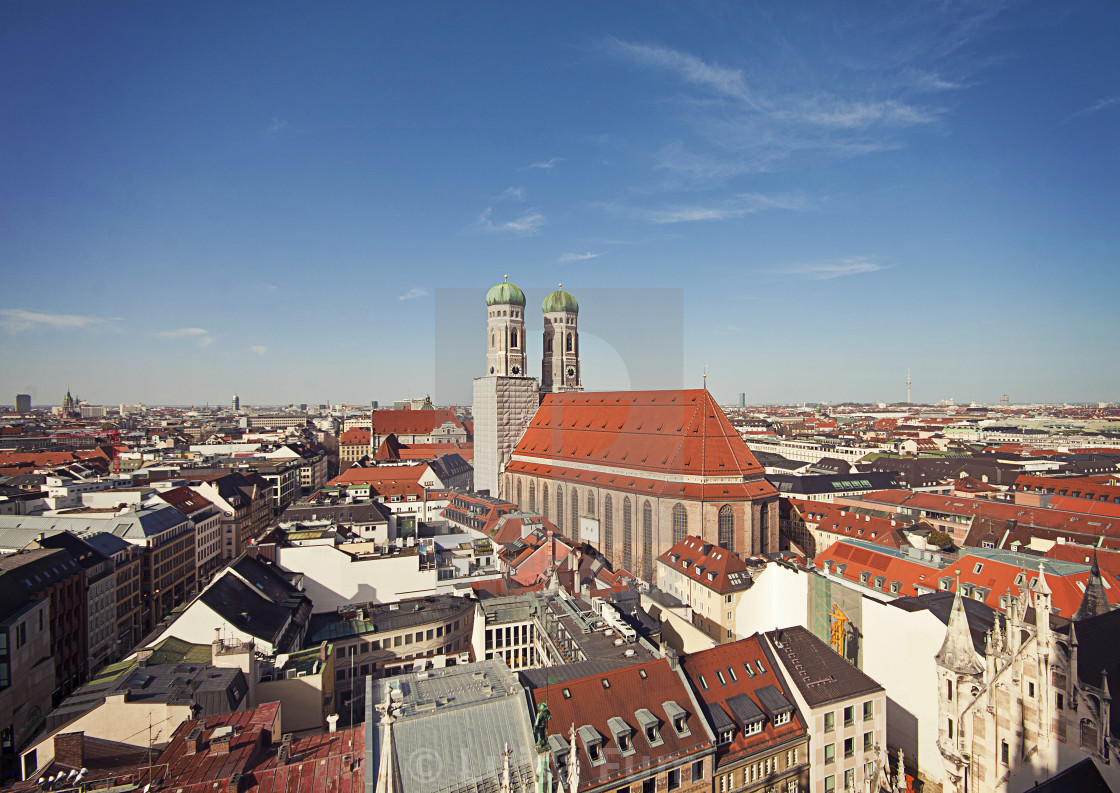 """Aerial view of Munich with the Frauenkirche and the two clocktowers"" stock image"