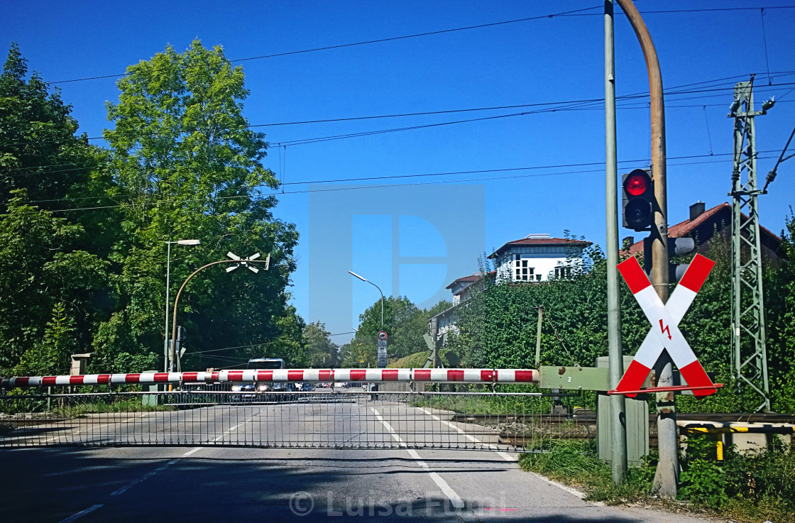 """Railroad crossing closed with red light"" stock image"
