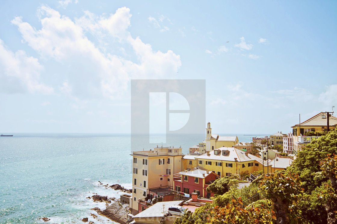 """Genoa, Boccadasse - panoramic view"" stock image"