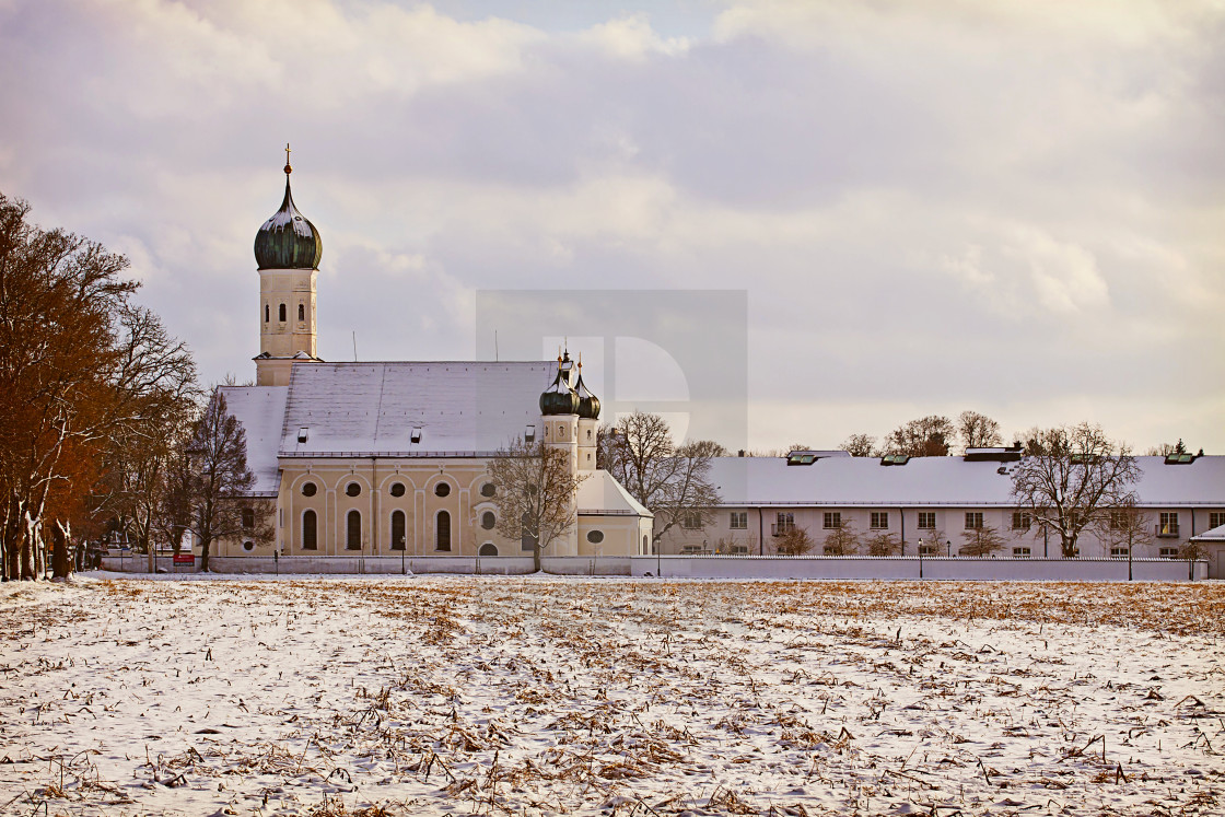 """Winter Bavarian landscape, church at sunset"" stock image"