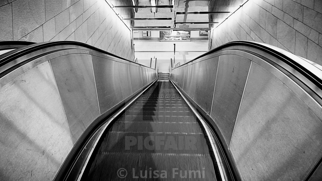 """Urban view, empty escalator at night"" stock image"