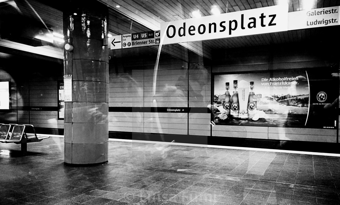 """Munich, Germany - Subway Odeonsplatz station night time"" stock image"