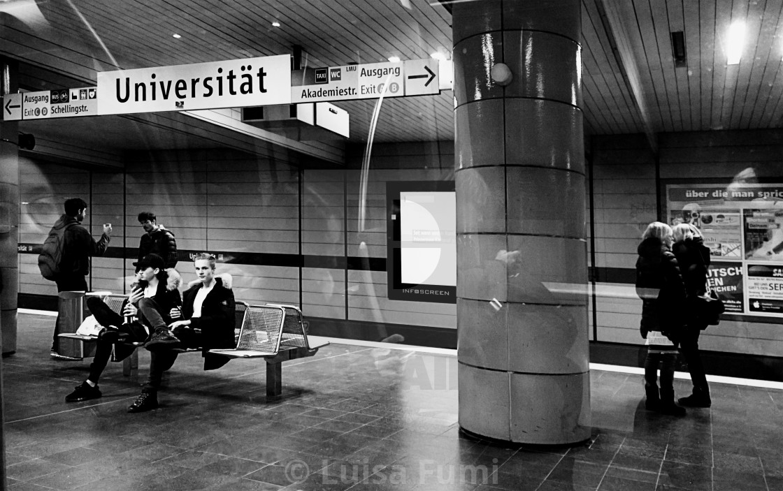 """Munich, Germany - Subway Universitaet station night time"" stock image"