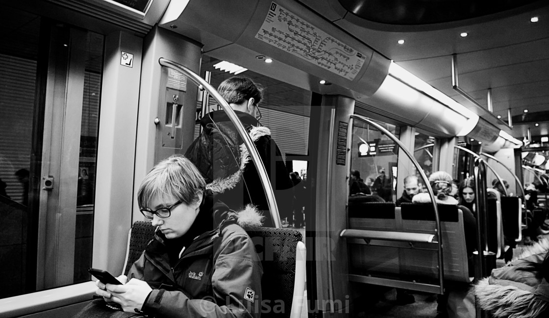 """Munich, underground train in the night"" stock image"