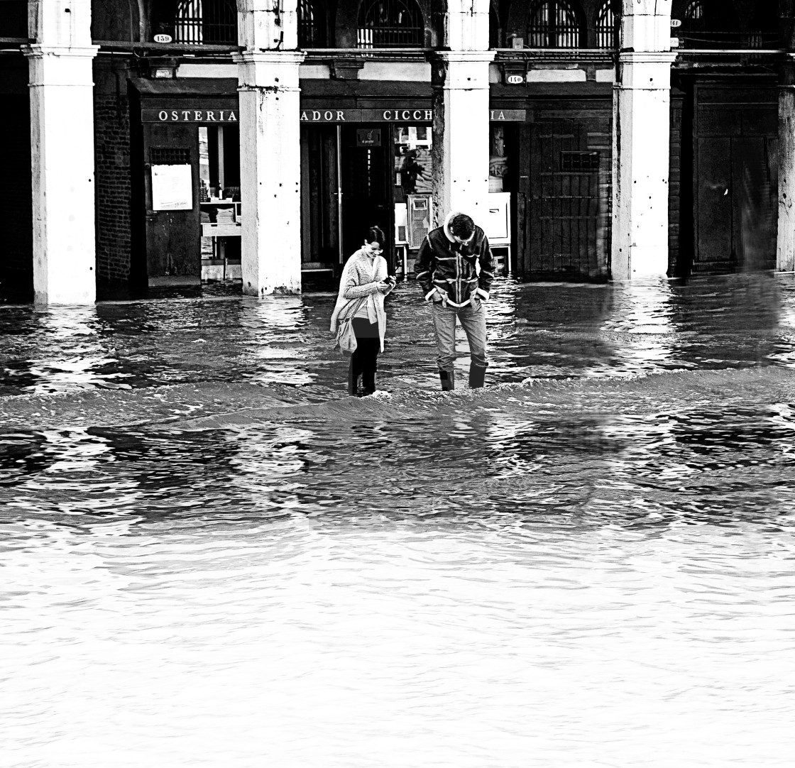 """Venice, high water at Rialto market"" stock image"