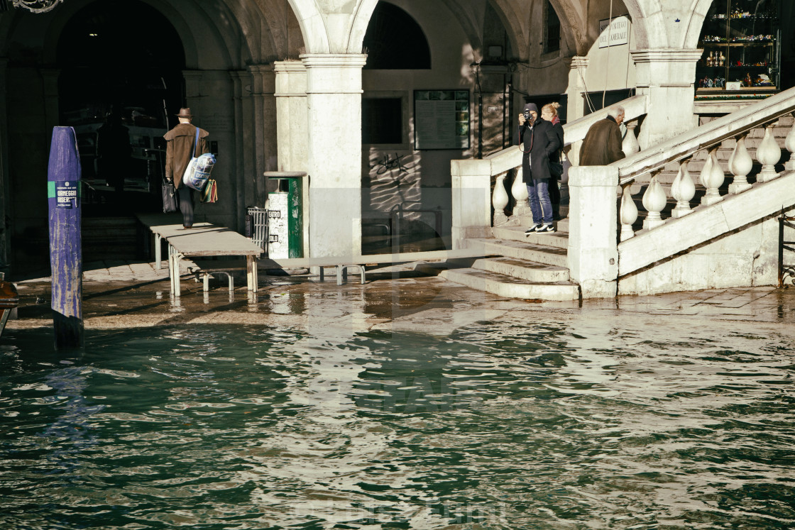 """High water in Venice at Rialto Bridge"" stock image"