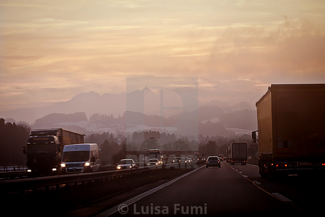 """Salzburg, Austria- High traffic as usual on the highway to Munich in a cold..."" stock image"