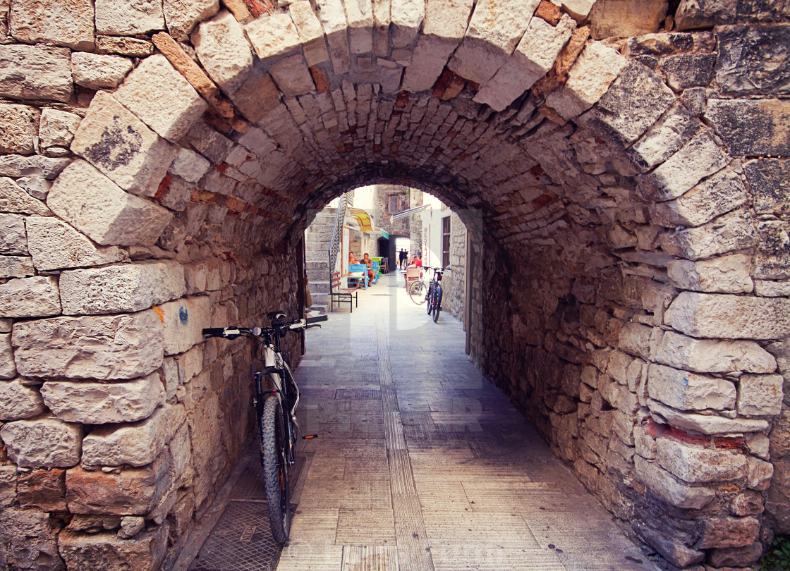 """Trogir Croatia - stone portal in old town"" stock image"
