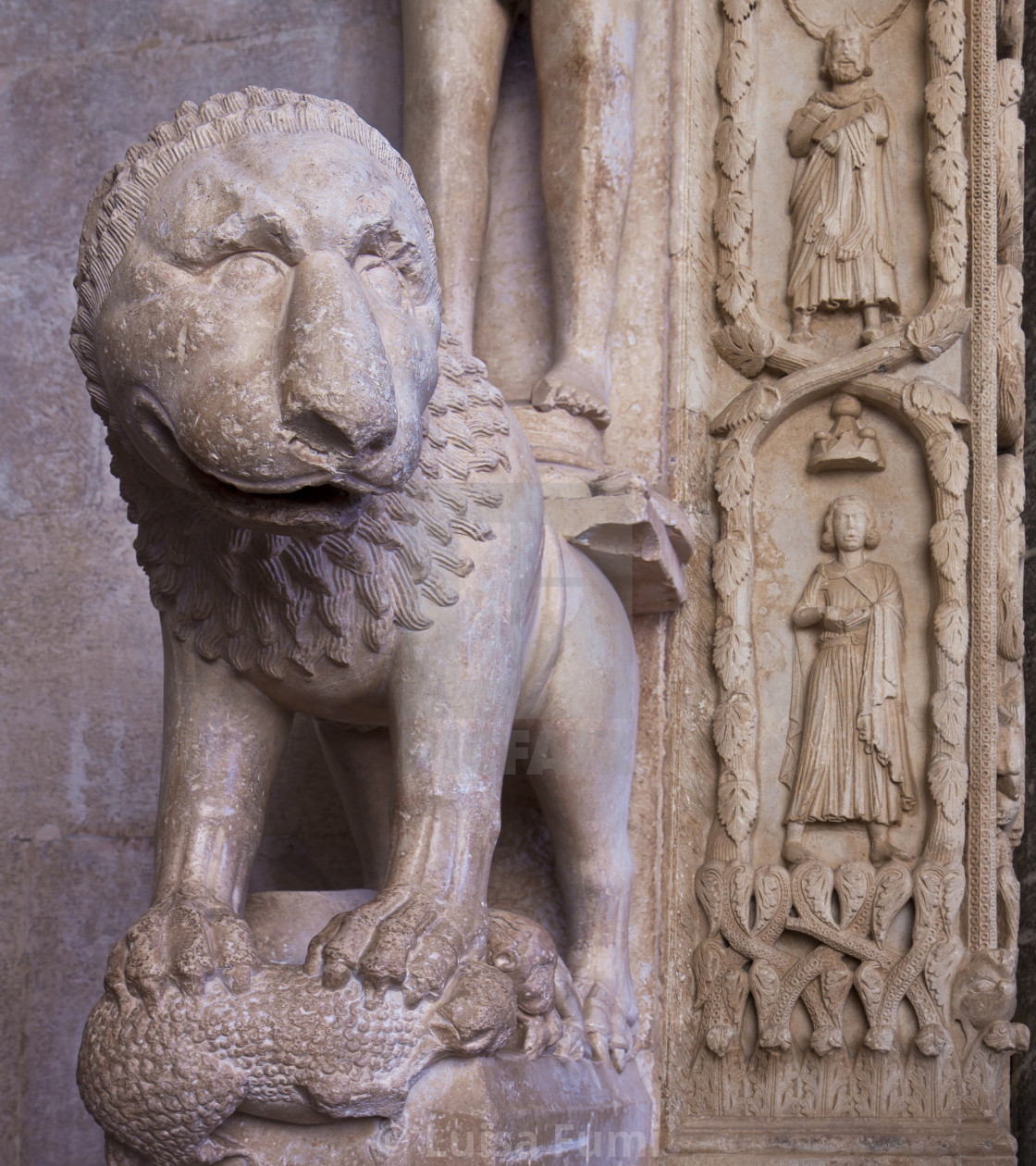 """Trogir, Croatia,Cathedral of St. Lawrence, detail of the entrance portal"" stock image"