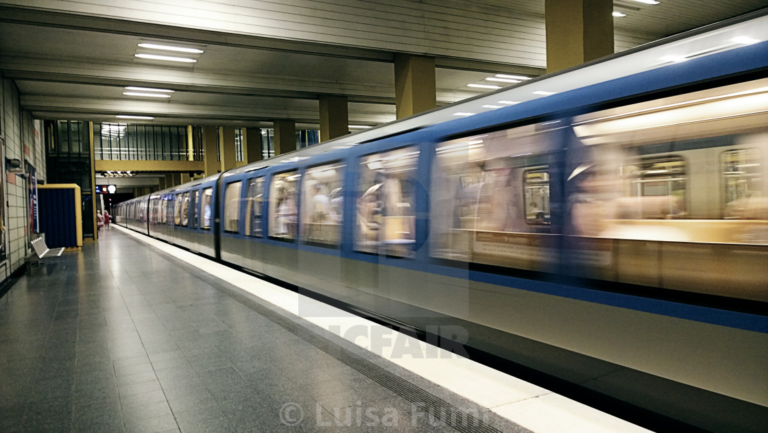 """Underground train leaving the station"" stock image"