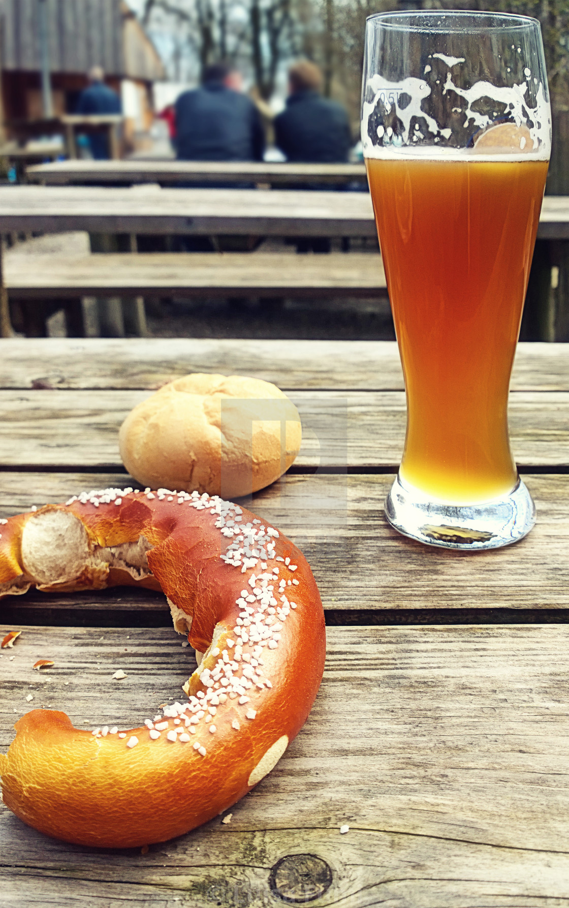 """Beer and pretzel, typical Bavarian pause"" stock image"