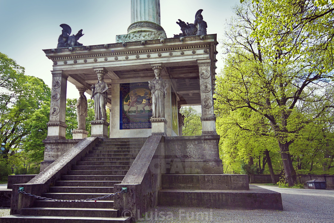"""Munich, Germany - Angel of Peace monument, plinth detail with caryatids and..."" stock image"