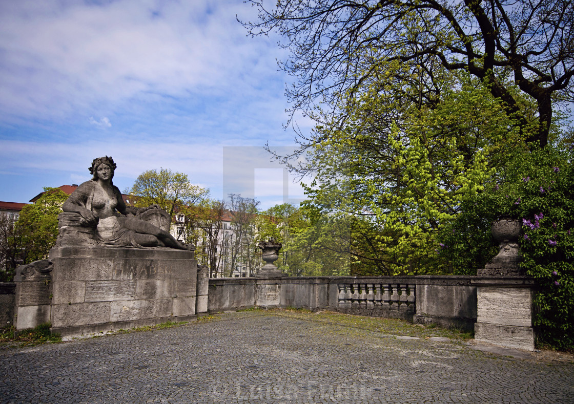 """Schwaben stone statue on Luitpold bridge, Munich"" stock image"
