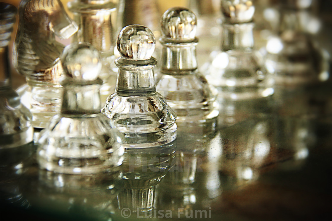 """""""Chessboard, single pawn in focus and blurred borders"""" stock image"""