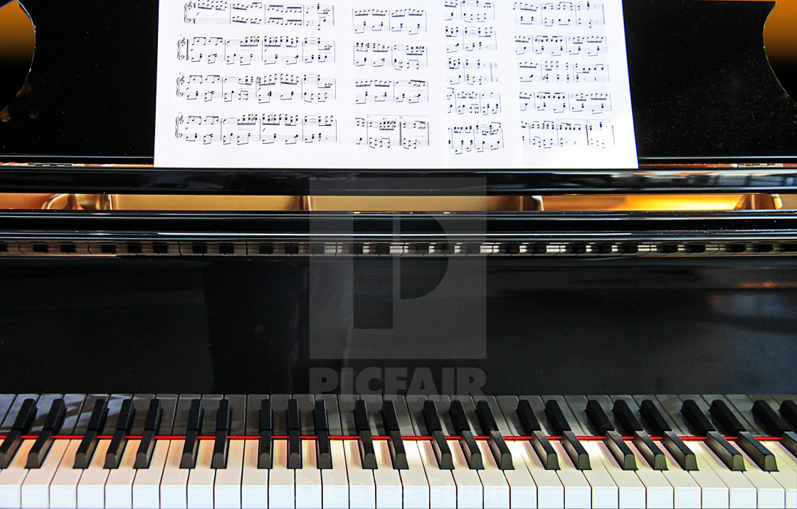"""piano with music sheets ready for a sonata"" stock image"