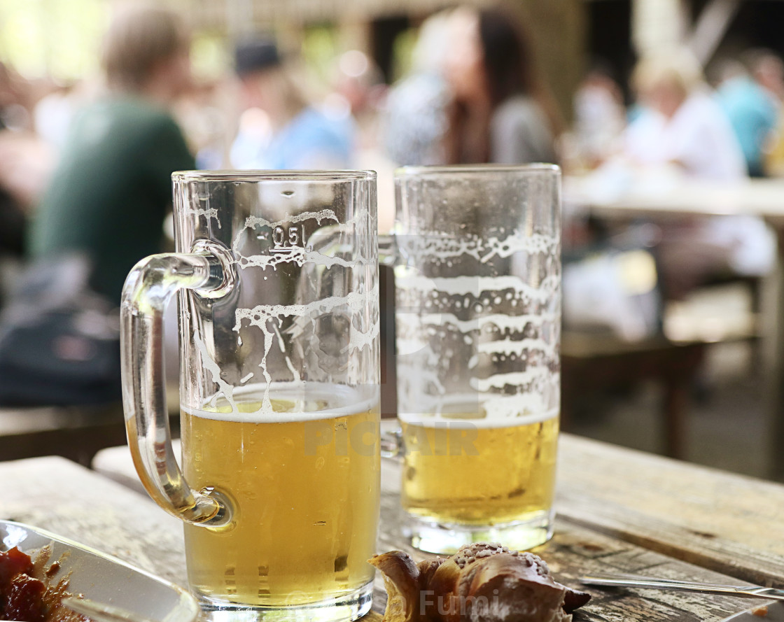 """Bavarian beer garden"" stock image"