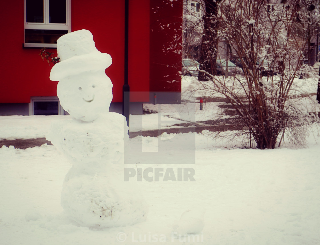 """winter view, funny snowman"" stock image"