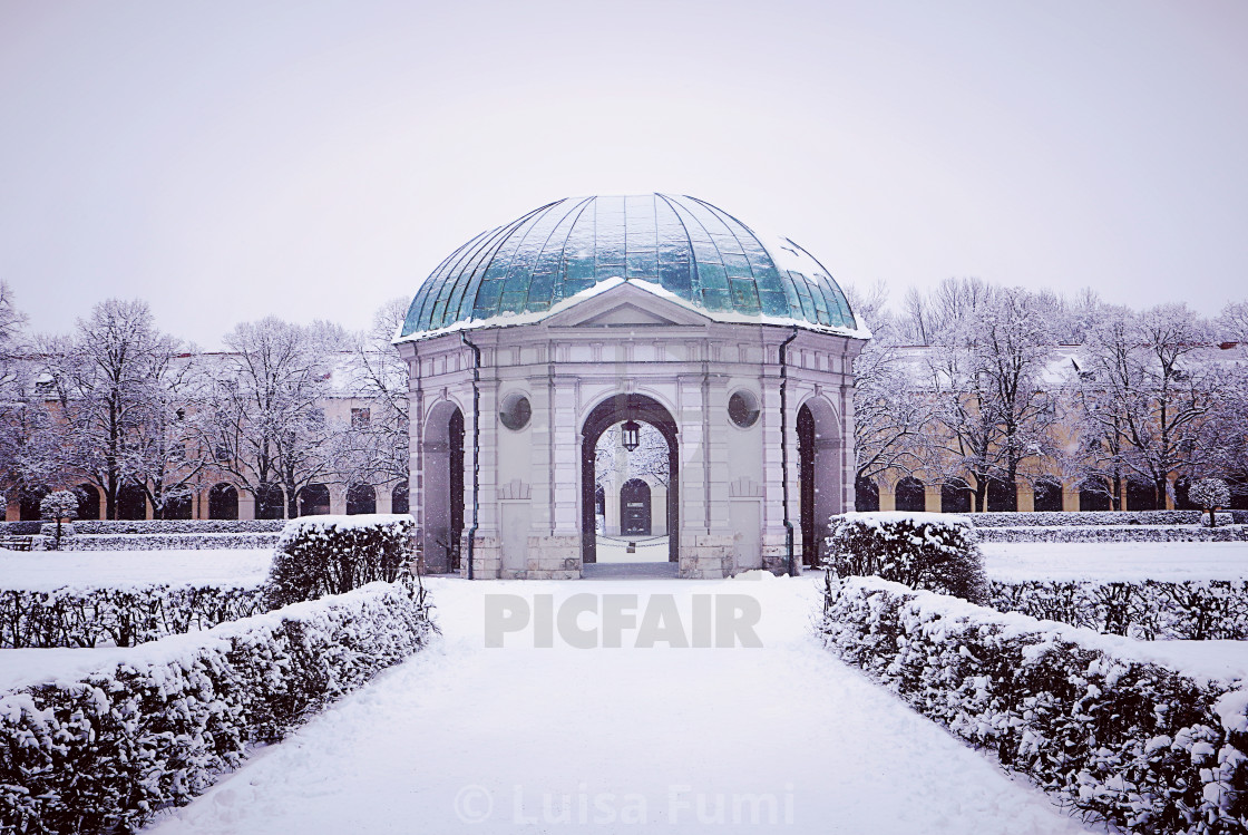 """Munich, Germany, Hofgarten round pavilion in winter"" stock image"