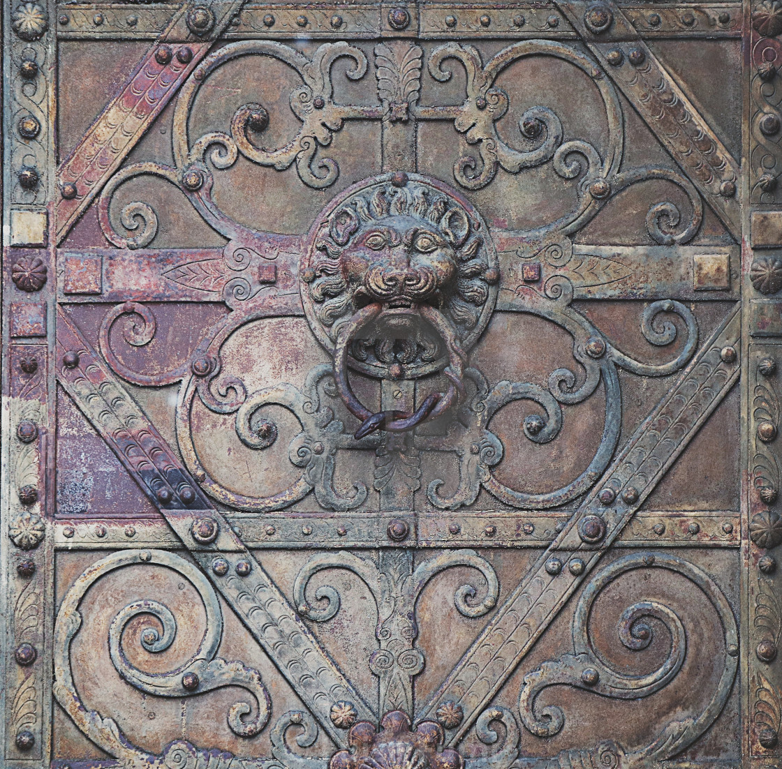 """Antique texture: door knocker on antique portal"" stock image"